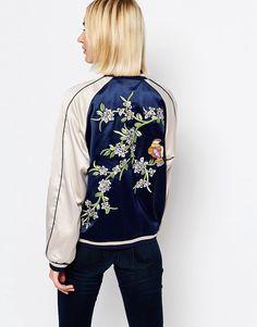 a1044a99c8 Gestuz silky bomber jacket with embroideries Bomber Jacket Embroidery