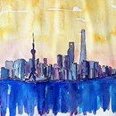 Stunning Shanghai Skyline in Watercolor - Limited Edition Fine Art Print
