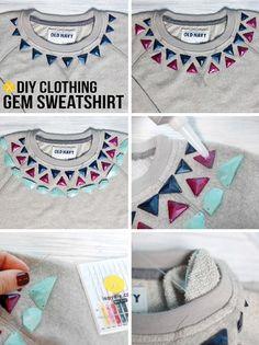diy clothing gem sweatshirt.