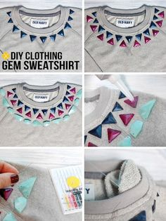 diy clothing gem sweatshirt. This could be done with other patterns too.