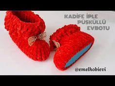 Kadife İple Kız Çocukları İçin Püsküllü Evbotu / Easy Crochet Booties - YouTube Filet Crochet, Crochet Hats, Slipper, Diy And Crafts, Baby Kids, Socks, Make It Yourself, Shoes, Crochet Slippers