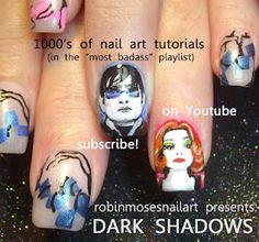"Nail-art by Robin Moses ""DARK SHADOWS"" http://www.youtube.com/watch?v=NS8U9ZMdoOA"