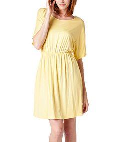 Light Yellow Scoop Neck Fit & Flare Dress #zulily #zulilyfinds