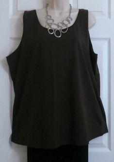 ff4d5bdbf9d13 NEW Chocolate Cotton Stretch Satin Trim Cami Tank Top Preswick   Moore Plus  2X  fashion