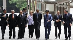 ISE, JAPAN - MAY 26: (L to R) Italian Prime Minister Matteo Renzi, European Commission President Jean-Claude Juncker, French President Francois Hollande, Canadian Prime Minister Justin Trudeau, German Chancellor Angela Merkel, US President Barack Obama, Japanese Prime Minister Shinzo Abe, European Council President Donald Tusk and British Prime Minister David Cameron walk at Ise-Jingu Shrine on May 26, 2016 in Ise, Japan. In the two-day summit, the G7 leaders are scheduled to discuss global…