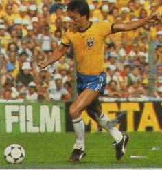 Leandro of Brazil in action at the 1982 World Cup Finals.