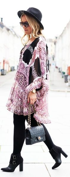 Free People Purple Black And White Patterned Boho Inspired Cape Dress by Cath In The City