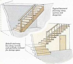 Our garage has an upper floor that needs a great set of space saving stairs....these great stairs both save space and create space. #garage #modernfarmhouse #farmhousestyle #stairs