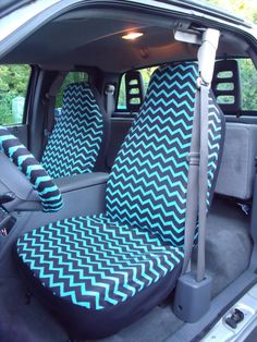1 Set Of Black/Turquoise Chevron  Print  Car Seat covers and  Steering Wheel Cover Custom Made. on Etsy, $65.00