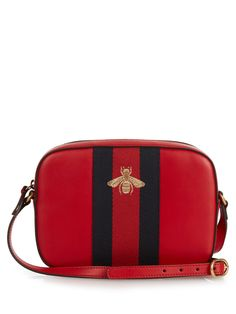 Line bee-embroidered leather cross-body bag | Gucci | MATCHESFASHION.COM US