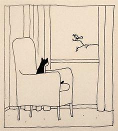 Grand Chat, Arte Indie, Illustrator, Cat Jokes, Cats Humor, Arte Sketchbook, Cat Drawing, Drawing Ideas, Oeuvre D'art