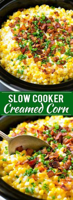 Slow Cooker Creamed Corn Recipe | Easy Creamed Corn Recipe | Slow Cooker Creamed Corn with Bacon | Southern Creamed Corn | Creamed Corn with Cream Cheese
