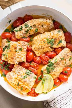Cod fish cooked in tomatoes and a wine sauce. Simple cod fish recipe made in und. Cod fish cooked in tomatoes and a wine sauce. Simple cod fish recipe made in under 15 minutes. Best Fish Recipes, Tilapia Fish Recipes, Paleo Fish Recipes, White Fish Recipes, Cod Recipes, Vegetable Recipes, Meat Recipes, Seafood Recipes, Cooking Recipes