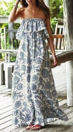 Bohemian Style Blue and White Floral Bandeau Ruffle Vintage Sleeveless Maxi Dress
