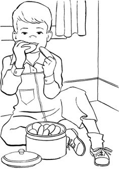 The Boy Eat Cookie Coloring Page