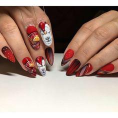 red is rad Acrylic Nail Art, Nail Art Diy, Diy Nails, Manicure, Close Up, Animal Nail Art, Nail Tips, Nail Hacks, Christmas Nail Art
