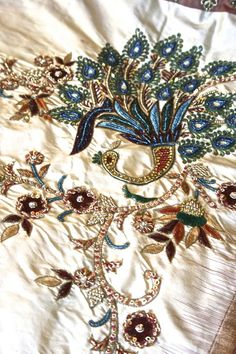 Once Upon A Tea Time.... Design Stories Riiti Fashions #sari #peacock #embroidery