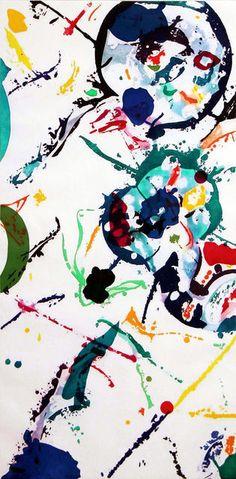 Sam Francis, Untitled (1990), aquatint, 47 x 28 in., edition of 20, Leslie Sacks Fine Art