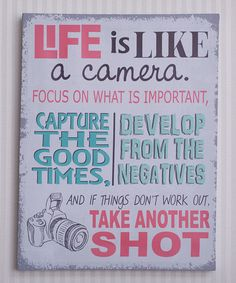 Another great find on #zulily! Pink & Gray 'Life Is Like a Camera' Canvas #zulilyfinds