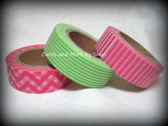 Pink and Green Washi Tape - 3 rolls. $9.00, via Etsy.