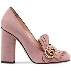 Gucci Damen Pumps aus Wildleder - reduziert ($655) found on Polyvore featuring women's fashion, shoes, pumps, gucci footwear, gucci shoes, gucci and gucci pumps