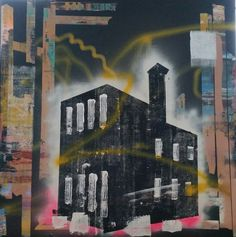 Abstract Cityscape Painting inspired by Greenbank Police Headquarters in Plymouth