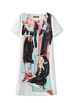 Fashiondiary Women's Short Sleeve Pullover Graphic Fashion Casual Shift Dresses -- Review more details here : wedding dresses
