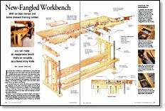 "I've been asked a thousand times what work bench design I suggest for a modern wood shop.  That's a great question because the tools we use today require a different approach.  That ""New Fangled Workbench"" from Fine Woodworking's John White is a brilliant approach that combines functionality with frugality.  Be sure to check-out the video of John putting his bench through its paces."