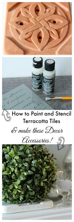How to paint and stencil terracotta tile and use them for decor in your home! Painted terracotta tiles - an inexpensive DIY decor project from thrift store tiles. www.settingforfour.com