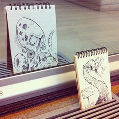 Cleverly Positioned Sketchbook Drawings That Interact with Each Other