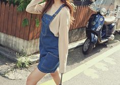•_• Aesthetic Fashion, Overall Shorts, Overalls, Denim, Chic, Korea, How To Wear, Clothes, Outfits