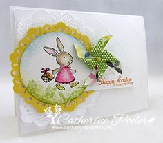 Hand stamped Easter Card-Stampin' Up Supplies:   ■Everybunny Stamp Set, My Friend Stamp Set   ■Cardstock: Whisper White, Daffodil Delight, Watercolor Paper   ■Ink: Melon Mambo, Crumb Cake, Early Espresso, Daffodil Delight, Pumpkin Pie, Old Olive, Bashful Blue   ■Accessories: Delicate Doilies Embosslit, Doily, 2-1/2″ Circle Punch, Stampin' Sponges, Blender Pens, Brights Brads, Diagonal Score Plate
