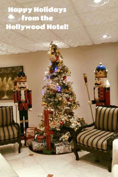 We love our and life size Nutcrackers here in our lobby at the Hollywood Hotel! Snap a photo and share it with us on Happy Holidays, Christmas Holidays, Christmas Tree, Hollywood Hotel, Unique Restaurants, Nutcracker Christmas, Nutcrackers, Vintage Glamour, Photo Galleries