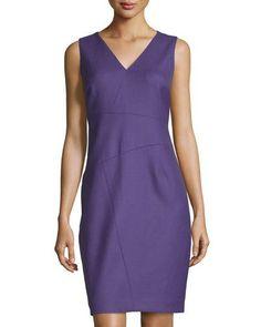 TCZ21 Tahari Wool-Blend Sheath Dress, Purple
