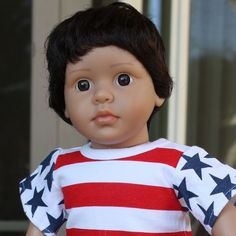 Mason, is an 18 Inch All American Boy Doll from Harmony Club Dolls. He is the same size as American Girl Dolls, but made by Harmony Club Dolls www.harmonyclubdolls.com Mason has very dark brown kanekalon hair, fixed beautiful brown eyes and poseable limbs. Visit him on our shopping website www.harmonyclubdolls.com