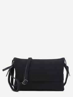 #AdoreWe #SheIn Bags - SheIn Black Nubuck Leather Flodover Clutch Bag With Strap - AdoreWe.com