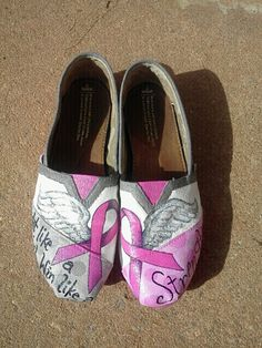 Breast Cancer Awareness hand painted TOMS by MyHeartToYourSole, $105.00