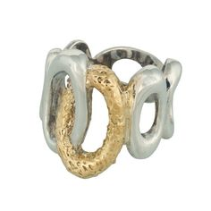 Coronation Day (CD007) Five 925 sterling silver ovals and one 9k gold oval band together to form this distinct wide band ring.