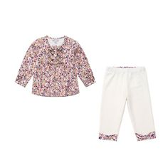 50% off everything at Happyology | Floral Smoked Blouse and Floral Trim Leggings
