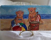 Acrylic Painting Of Pigs Handpainted On A Brick Paver