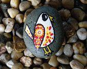 Folk Art Bird / Painted Rock Art / White Red Yellow / Beach Stone
