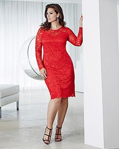 Anna Scholz for Simply Be Red Long Sleeve Lace Dress