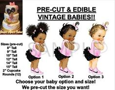 You can choose your Baby Option and Size using the drop down box. Our pre-cut babies can be used for many things! Apply them on cakes, cookies, cupcakes, treats, edible centerpieces and so much more! Little Girl Cakes, Baby Girl Cakes, Black Ruffle, Pink Black, Black Little Girls, Brush Embroidery, Cake Sizes, Afro Puff, Fantasy Cake