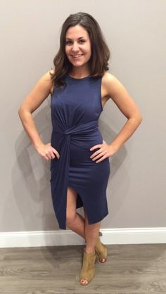 This navy dress is ⓖⓞⓡⓖⓔⓞⓤⓢ and fits like a dream! We love the knot detailing on the front and the high neckline! Our new beige heels go perfectly! Dress - $44  Heels - $39 #ootd #navy #dress #spring #springfashion #newarrival #apricotlanedesmoines #shopalb #apricotlane #shoplocal