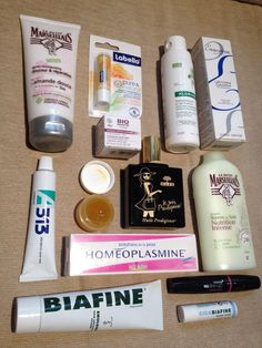 French pharmacie favorites. Got everything on my list except Avibon (discontinued), but the A313 is a similar Vitamin A facial treatment in a lower concentration. Brands include Biafine, Embryolisse, Nuxe, Le Petit Marseillais, Monop, Labello, Boiron, and Klorane