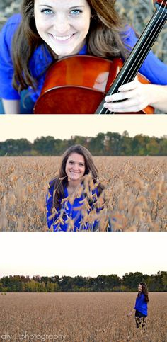 aly j. photography, Cellos, Senior Shoot.    Do this with Savannah, a bean field, her fiddle and mandolin.