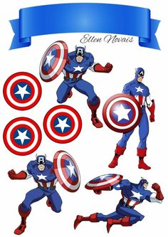 Captain America: Free Printable Cake and Cupcake Toppers. Spiderman Chibi, Anniversaire Captain America, Captain America Party, Captain America Birthday Cake, Captain Amerika, Avengers Birthday, Bird Party, Hello Kitty, Pillow Box