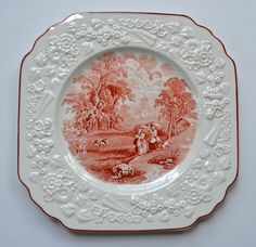 Rhapsody George Jones Gathering Hay English Transferware Brick Red Square Plate Embossed Floral Border Rhapsody George Jones