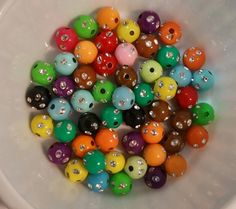 100  8 mm Bling assorted colors  Round Ball Bead by PegsClayGround