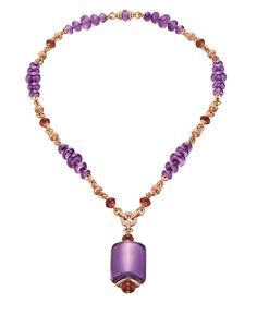 Bulgari MVSA necklace with amethyst, rubellite and diamonds set in pink gold.